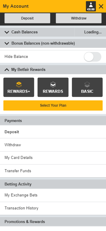 net deposits betfair