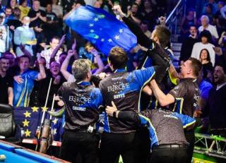 Team Europe celebrate winning the Mosconi Cup 2015 in Las Vegas