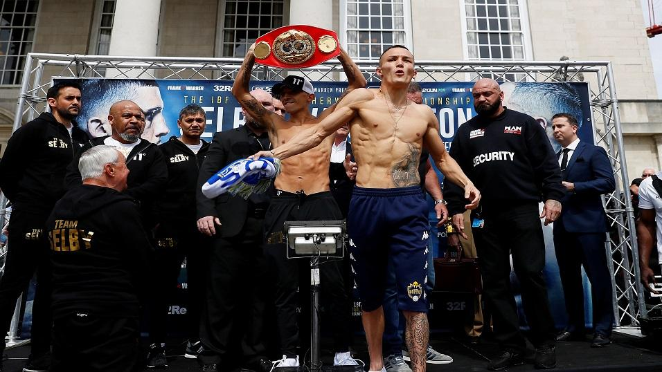 Lee Selby (left) and Josh Warrington at the weigh-in for Saturday's fight