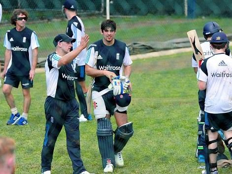 Back to work: Alastair Cook prepares for nets in Sri Lanka