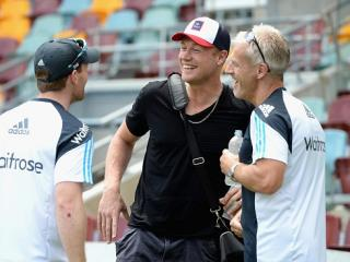 Making it fun . . . Andrew Flintoff with England captain Eoin Morgan and coach Peter Moores