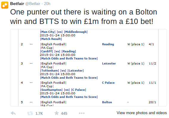 The story of the Betfair punter who almost won £1m from a £10 bet
