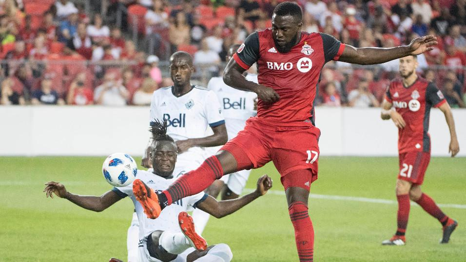 Toronto FC forward Jozy Altidore and Vancouver Whitecaps forward Kei Kamara