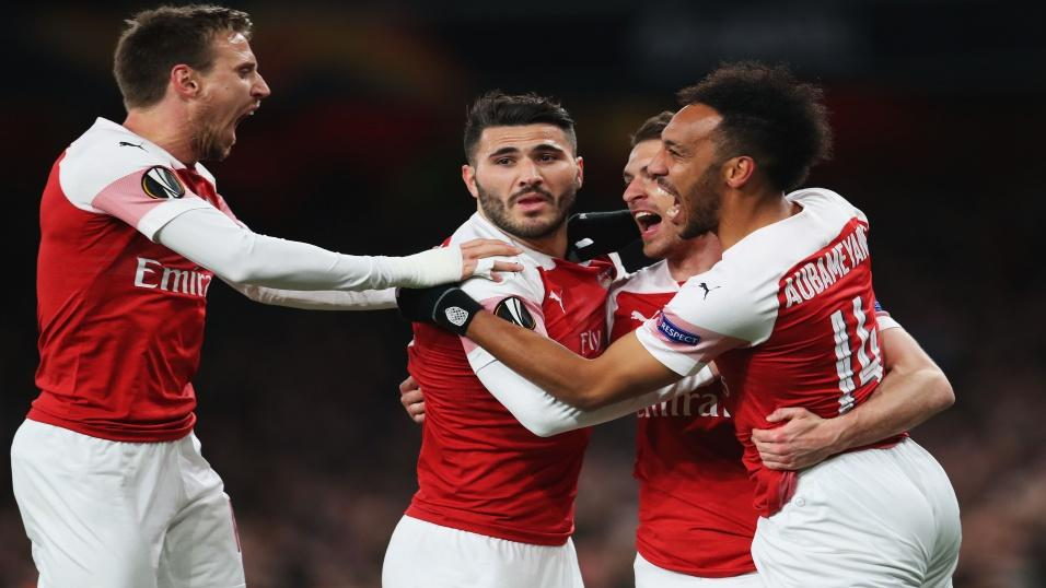 Arsenal's Nacho Monreal, Sead Kolasinac, Aaron Ramsey and Pierre-Emerick Aubameyang (left to right)
