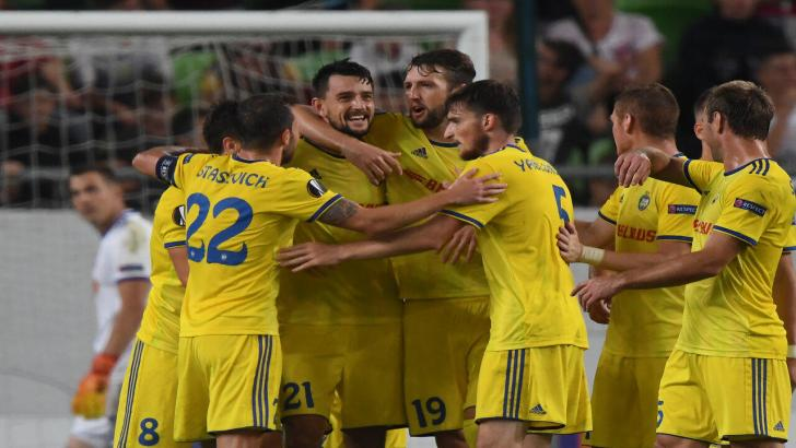 BATE Borisov players celebrate a goal