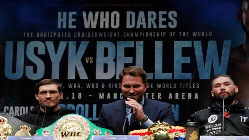 Tony Bellew and Oleksandr Usyk at their press conference