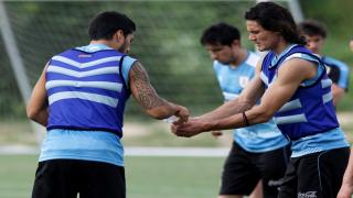Luis Suarez and Edinson Cavani of Uruguay