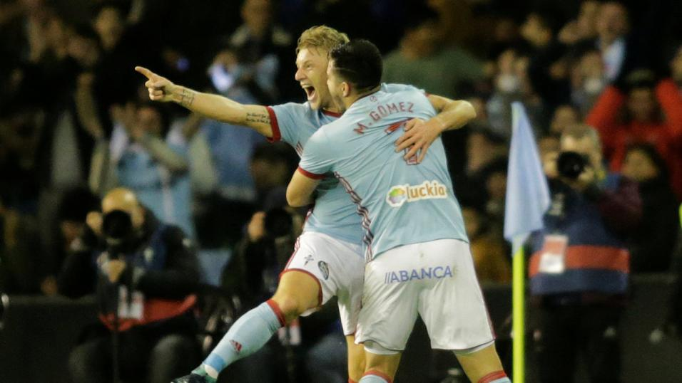 Daniel Wass and Maxi Gomez of Celta Vigo
