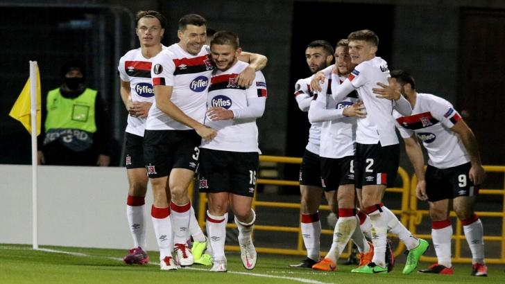 Dundalk players celebrate a goal