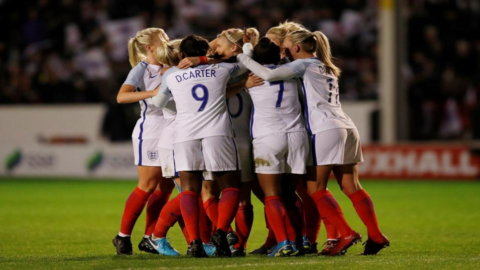 England celebrate one of their goals against Bosnia