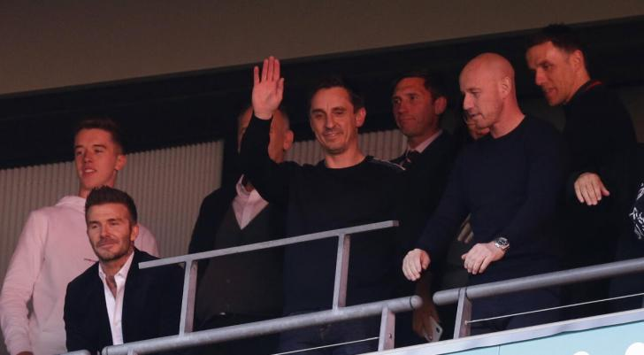 Gary Neville, centre, part owns Salford City with former Manchester United team-mates