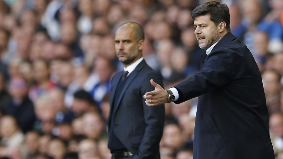 Spurs manager Mauricio Pochettino and Manchester City coach Pep Guardiola.