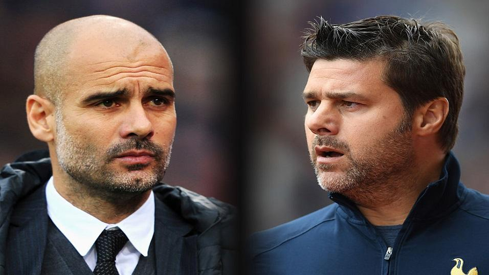 Man City and PSG Managers - Pep Guardiola and Mauricio Pochettino