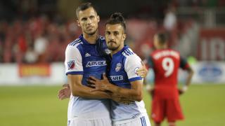 FC Dallas players Matt Hedges and Maxi Urruti