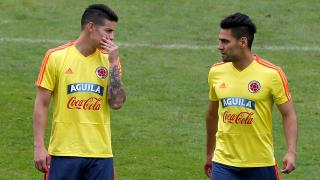 Colombia's James Rodriguez and Radamel Falcao
