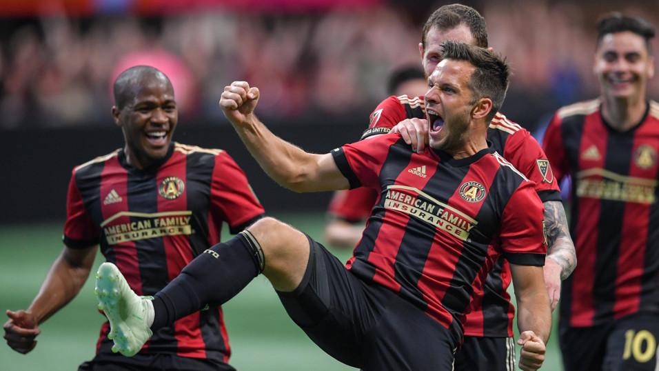 Atlanta United and Kevin Kratz celebrate