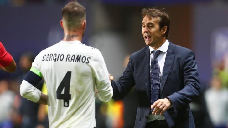 Sergio Ramos and his Real Madrid manager Julen Lopetegui.