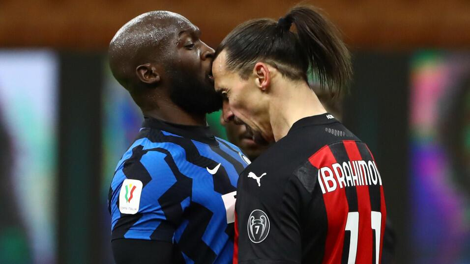 Romelu Lukaku of Inter and Milan striker Zlatan Ibrahimovic face off