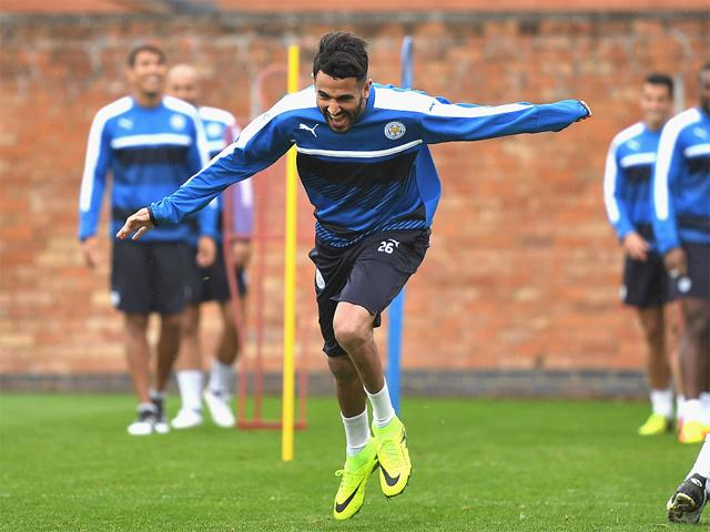 Riyad Mahrez has fun in training but will he have fun against Middlesbrough on Saturday?