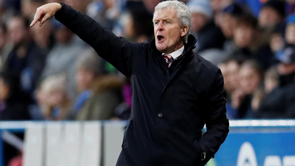 Mark Hughes on the touchline for Southampton