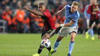 Atlanta United forward Josef Martinez and New York City FC defender Anton Tinnerholm