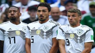 Germany's Jérome Boateng, Mats Hummels and Thomas Müller (left to right)