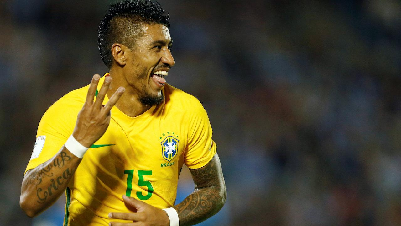 Paulinho's late runs into the box are a feature of Brazil's play