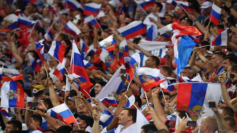 Russia fans at World Cup 2018