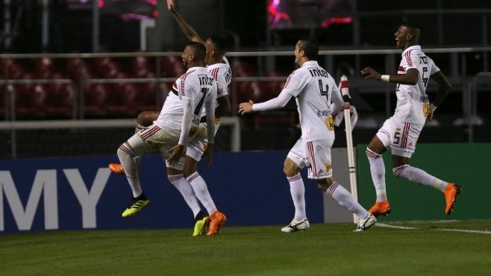 Players of Sao Paulo celebrate a goal