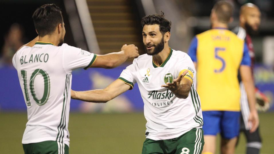 Portland Timbers players Diego Valeri and Sebastian Blanco