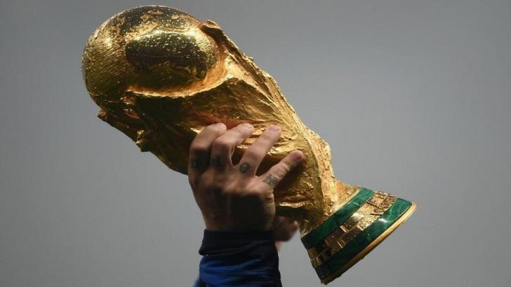 The World Cup held aloft after the 2018 final in Russia