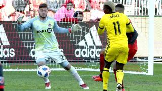 Columbus Crew forward Gyasi Zardes against Toronto FC goalkeeper Alex Bono