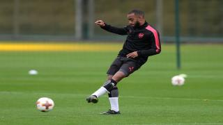 Arsenal striker Alexandre Lacazette in training