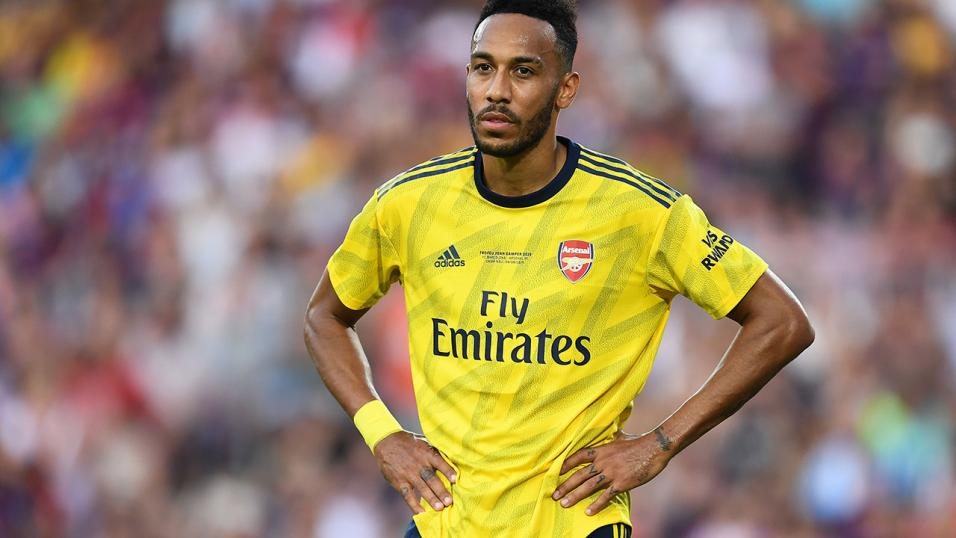 Aubameyang playing for Arsenal