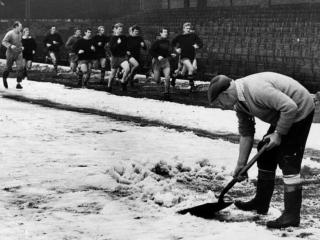The way we were - clearing snow of the pitch before a Boxing Day game in the 1960s