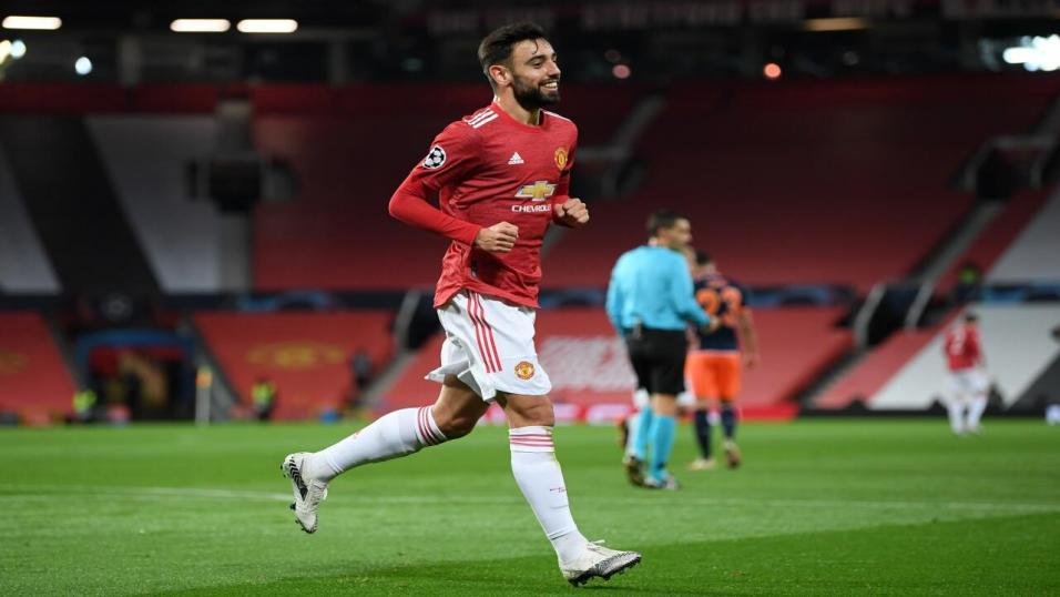 Bruno Fernandes playing for Manchester United