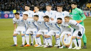 Dyanmo Kiev players pose pre-match