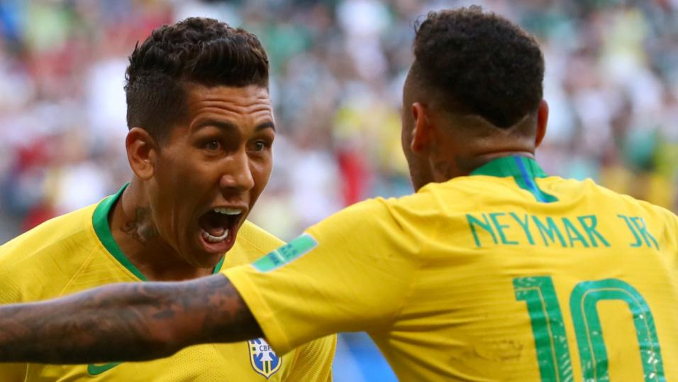 Brazil forwards Firmino and Neymar.