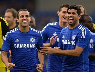 Fabregas, Costa, and Chelsea have lots to smile about
