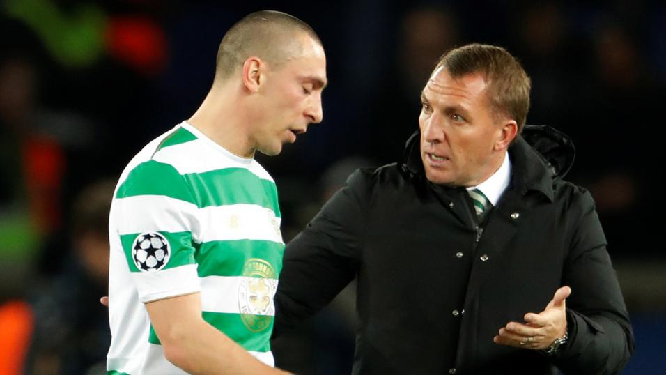Celtic manager Brendan Rodgers and midfielder Scott Brown