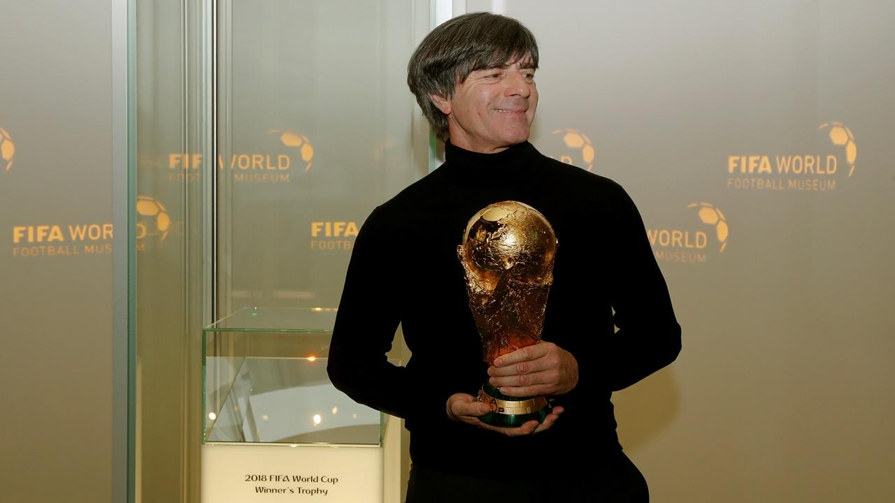 Germany coach Jogi Loew with the World Cup trophy