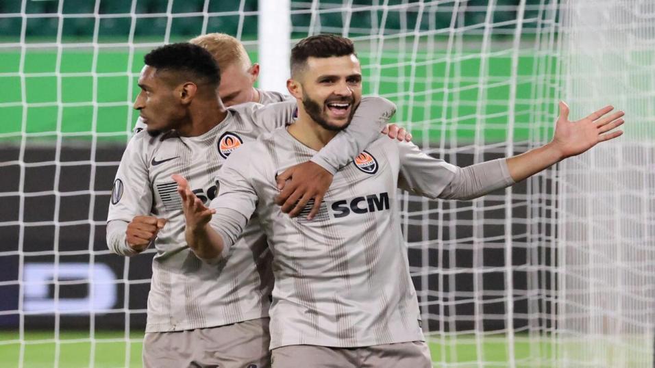 Shakhtar Donetsk striker Junior Moraes celebrates a goal