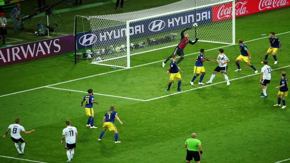 Germany's Toni Kroos scores against Sweden