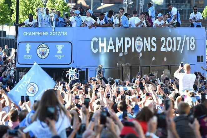 Manchester City celebrate 17/18 Premier League title with an open top bus parade
