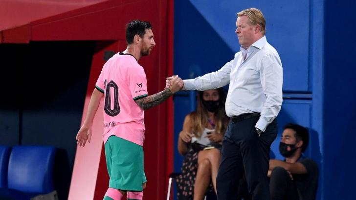 Lionel Messi and Ronald Koeman.