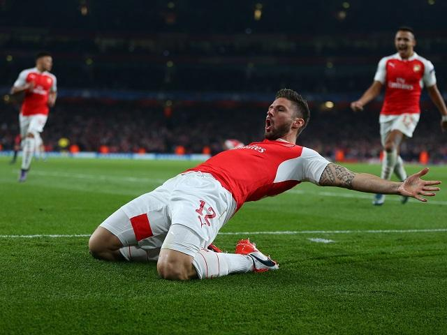 Olivier Giroud scored twice for the Gunners in the midweek draw at Anfield