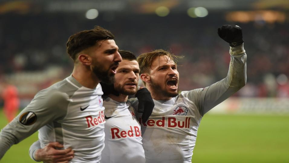 Salzburg players celebrate a Europa League goal