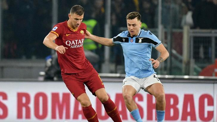 Lazio and Roma players in Rome Derby