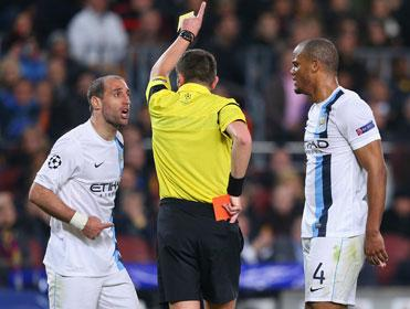 Pablo Zabaleta was sent off at Barcelona last season