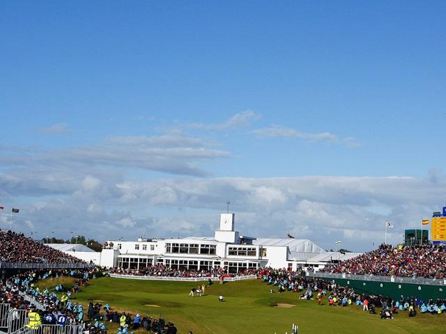 The 18th green and art deco clubhouse at Royal Birkdale